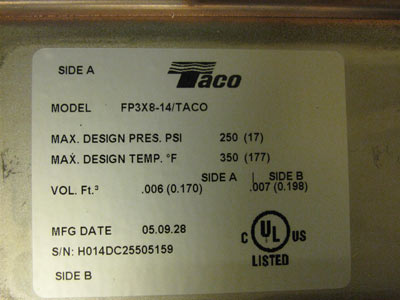 Taco heat exchanger Model FP3X8-14/TACO