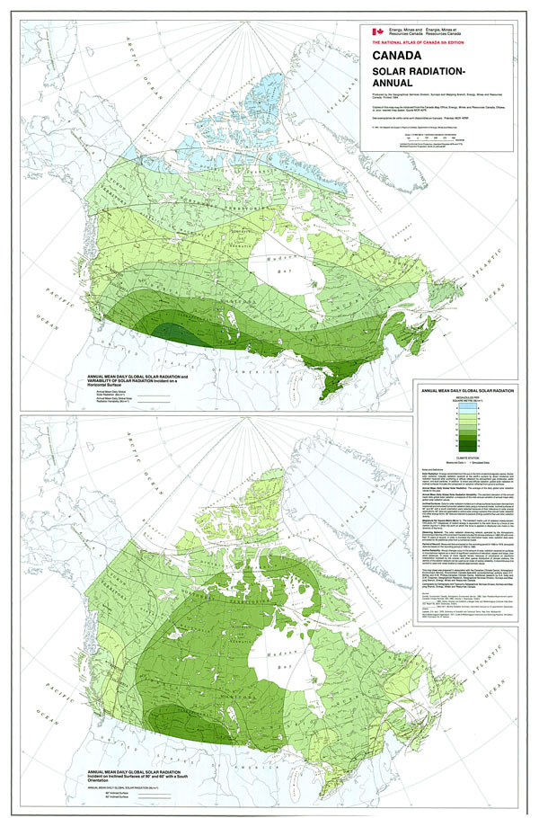 Canada annual solar radiation
